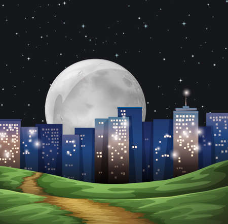 establishments: Illustration of a bright fullmoon in the city