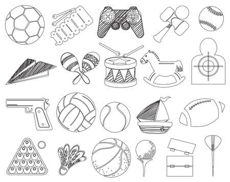 playhouse: Illustration of the different toys on a white background