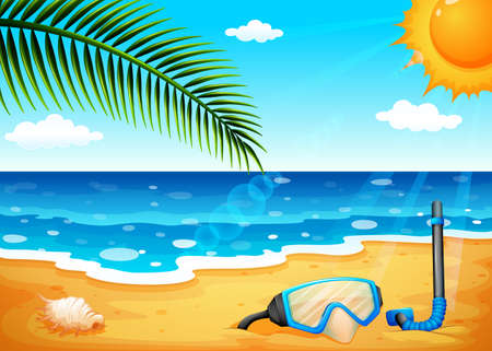 sunny beach: Illustration of a beach with a shinning sun