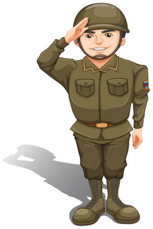 Illustration of a handsome soldier on a white background