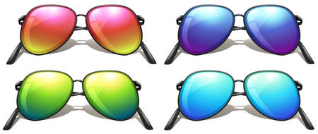 hinge joint: Illustration of the coloured sunglasses on a white background Illustration