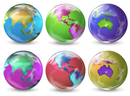milkyway: Illustratie van de aarde in verschillende kleuren op een witte achtergrond Stock Illustratie