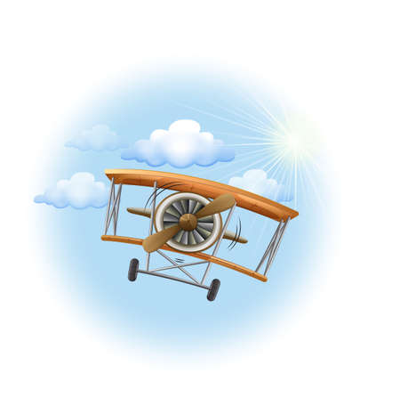 Illustration of a vintage propeller-powered aircraft in the sky on a white background Illustration
