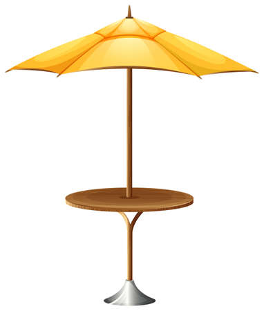 gamp: Illustration of a table with an umbrella on a white background