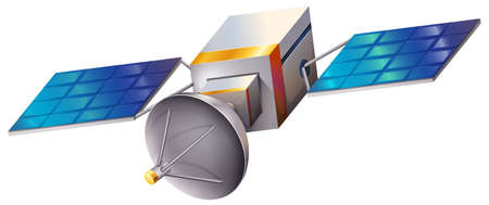 Illustration of a satellite on a white background Stock Illustratie
