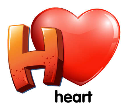 connective tissue: Illustration of a letter H for heart on a white background Illustration