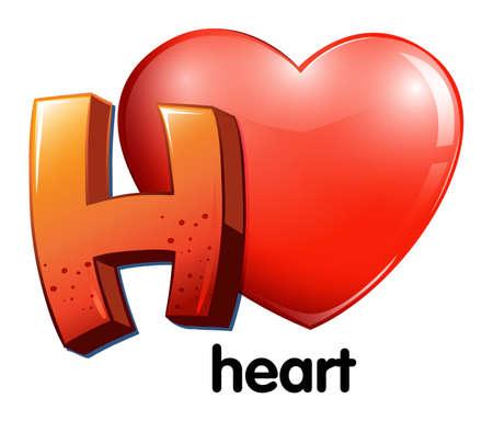 Illustration of a letter H for heart on a white background Illustration
