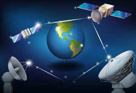 surrounding: Illustration of the satellites surrounding the planet Earth