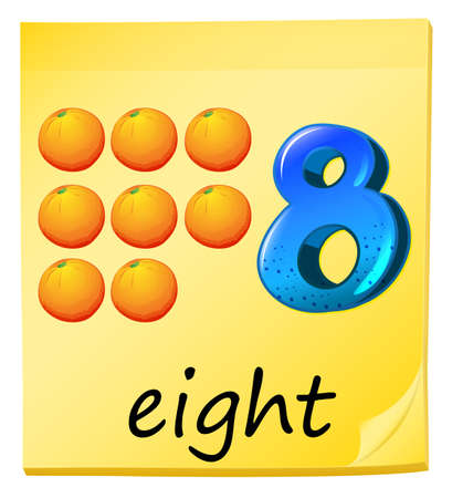 eight note: Illustration of the eight oranges on a white background