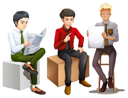 three men: Illustration of the three men sitting down while reading, talking and holding an empty board on a white background