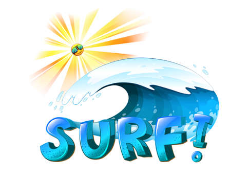 wavelengths: Illustration of the surfing artwork on a white background Illustration