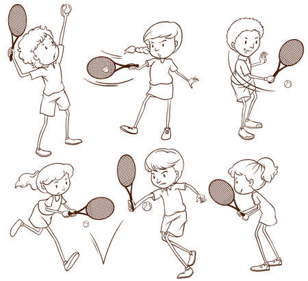 curvilinear: Illustration of the sketches of people playing tennis on a white background Illustration
