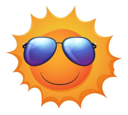 milkyway: Illustratie van een lachende zon op een witte achtergrond