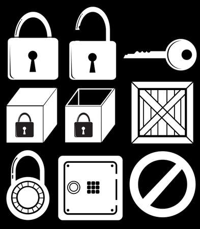 keycard: Illustration of the locking devices on a black background Illustration