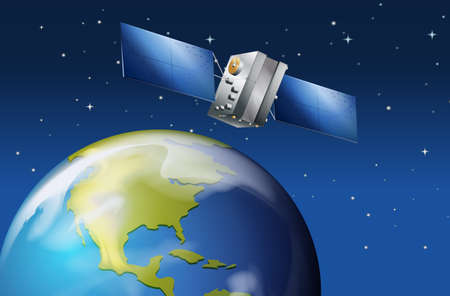 shinning: Illustration of the satellite near the planet Earth