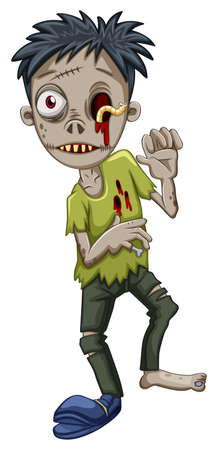 animated alien: Illustration of a zombie with a worm in the eye on a white background