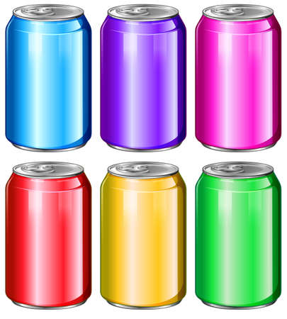 fizzy: Illustration of the colourful soda cans on a white background