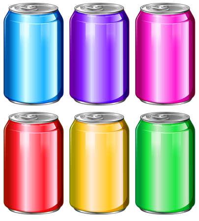 preservatives: Ilustraci�n de las latas de refrescos de colores sobre un fondo blanco