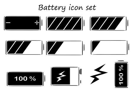 charged: Illustration of the black and white battery icons on a white background