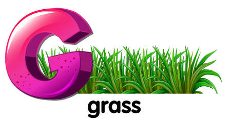 Illustration of a letter G for grass on a white background Illustration