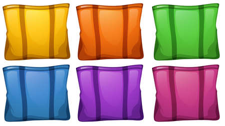 Illustration of the six colorful food bags on a white background Illusztráció