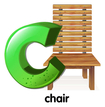 capitalized: Illustration of a letter C for chair on a white background Illustration