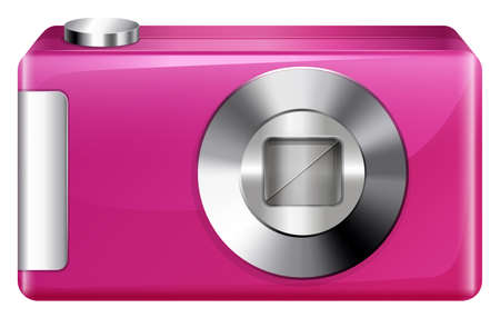 encodes: Illustration of a pink camera on a white background