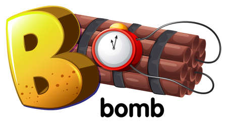 Illustration of a letter B for bomb on a white background Vector