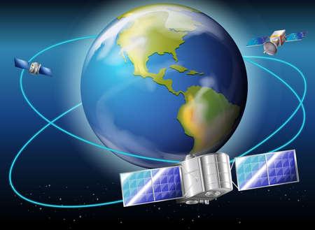 Illustratie van de satellieten rond de planeet Aarde Stock Illustratie
