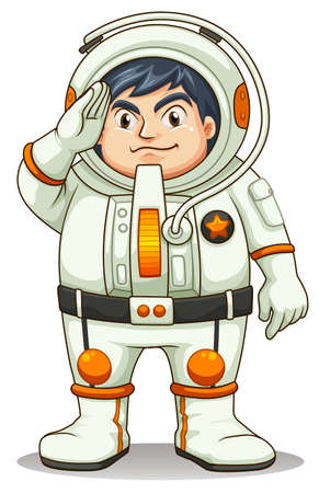 Illustration of a fat astronaut on a white background Vector
