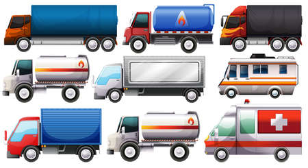 Illustration of the different trucks on a white background Vector