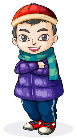 kinky: Illustration of a young Chinese boy on a white background