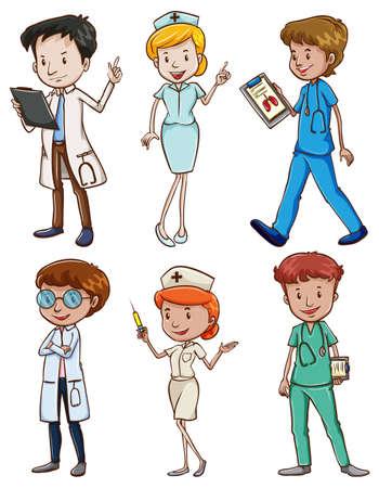 doctors and patient: Ilustraci�n de los profesionales de la medicina sobre un fondo blanco