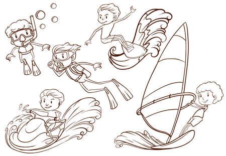 예행 연습: 흰색 배경에 수상 스포츠를하는 사람들의 간단한 스케치의 그림