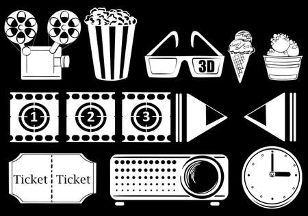 vibrations: Illustration of the things related to movies on a black background