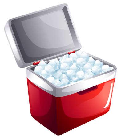 Ilustración de un cubo de cubos de hielo sobre un fondo blanco