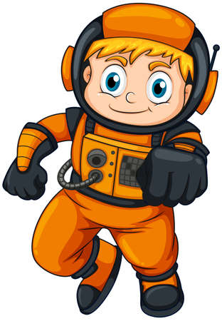 gray suit: Illustration of an astronaut wearing an orange suit on a white background Illustration