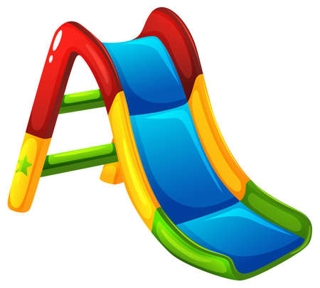 playroom: Illustration of a colourful slide on a white background