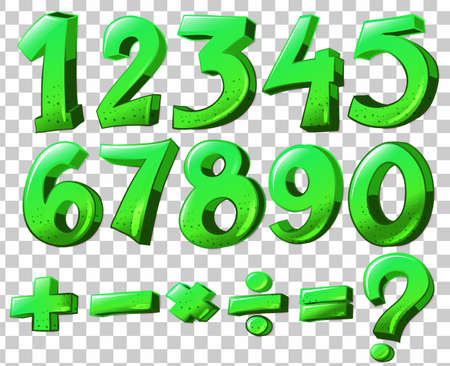 numbering: Illustration of the numbers in green color Illustration