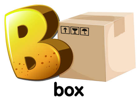 prefabricated: Illustration of a letter B for box on a white background
