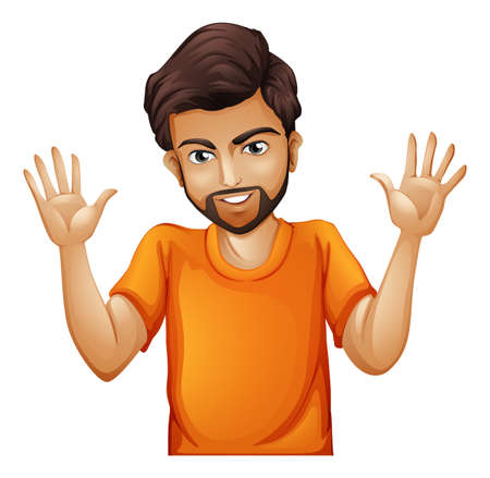 Illustrazione di un uomo che indossa una maglietta arancione su sfondo bianco