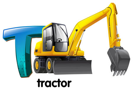 Illustration of a letter T for tractor on a white background Vector