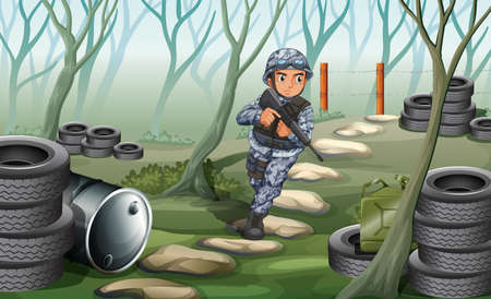Illustration of a soldier in the forest Illustration