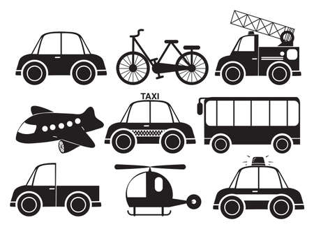 Illustration of the different type of vehicles on a white background Vector