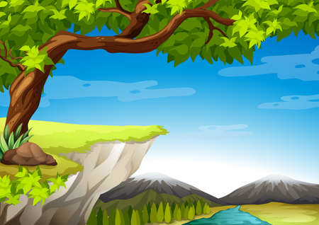 grass land: Illustration of the mountains and trees Illustration