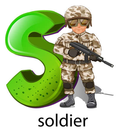 infantryman: Illustration of a letter S for soldier on a white background