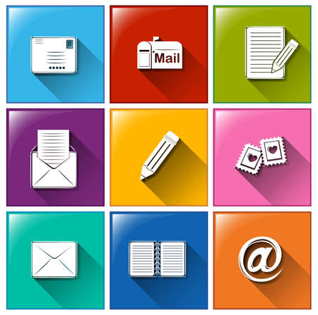 Illustration of the mailing icons on a white background