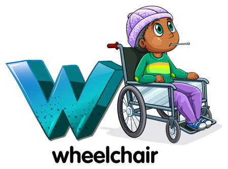 capitalized: Illustration of a letter W for wheelchair on a white background