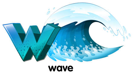 capitalized: Illustration of a letter W for wave on a white background