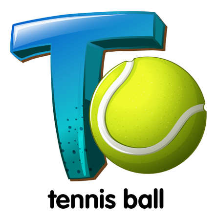 bounces: Illustration of a letter T for tennis ball on a white background